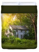 A Fading Memory One Summer Morning - Abandoned House In The Woods Duvet Cover by Gary Heller