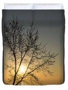 A Filigree Of Branches Framing The Sunrise Duvet Cover by Georgia Mizuleva