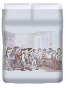 A French Coffee House Duvet Cover by Thomas Rowlandson
