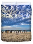 a good morning from Jerusalem beach  Duvet Cover by Ron Shoshani