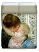 A Goodnight Hug  Duvet Cover by Mary Stevenson Cassatt
