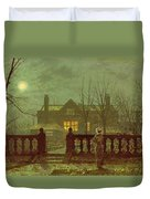 A Lady In A Garden By Moonlight Duvet Cover by John Atkinson Grimshaw