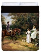 A Meeting By A Stile  Duvet Cover by Heywood Hardy