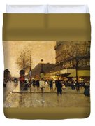 A Parisian Street Scene Duvet Cover by Eugene Galien-Laloue