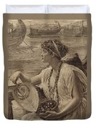 A Roman Boat Race Duvet Cover by English School