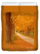 A Romantic Country Walk In The Fall Duvet Cover by Lingfai Leung