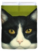 A Serious Cat Duvet Cover by James W Johnson