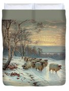 A Shepherd With His Flock In A Winter Landscape Duvet Cover by Wright Baker