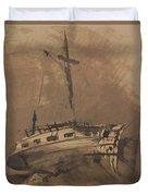 A Ship In Choppy Seas Duvet Cover by Victor Hugo