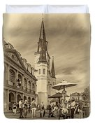 A Sunny Afternoon In Jackson Square Sepia Duvet Cover by Steve Harrington