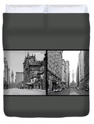 A Tail Of Two Cities - South Broad Then And Now Duvet Cover by Bill Cannon