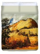A Tree And Orange Hill Duvet Cover by Jeff Swan