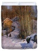 A Winter Landscape With Children Sledging Duvet Cover by Peder Monsted