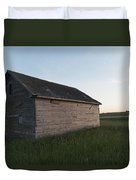 A Wooden Shed In The Middle Of A Grass Duvet Cover by Keith Levit