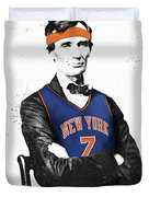 Abe Lincoln In A Carmelo Anthony New York Knicks Jersey Duvet Cover by Roly Orihuela