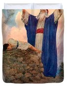 Abraham and Isaac on Mount Moriah Duvet Cover by William Henry Margetson