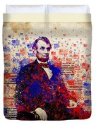 Abraham Lincoln With Flags Duvet Cover by Bekim Art