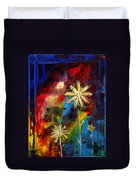 Abstract Art Original Daisy Flower Painting Visual Feast By Madart Duvet Cover by Megan Duncanson