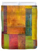 Abstract Color Study Collage L Duvet Cover by Michelle Calkins
