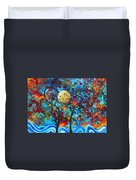Abstract Contemporary Colorful Landscape Painting Lovers Moon By Madart Duvet Cover by Megan Duncanson
