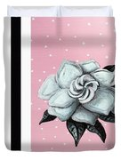 Abstract Contemporary Whimsical Pink Painting Gardenia Flower By Madart Duvet Cover by Megan Duncanson