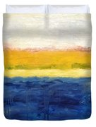 Abstract Dunes with Blue and Gold Duvet Cover by Michelle Calkins
