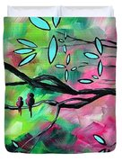 Abstract Landscape Bird and Blossoms Original Painting BIRDS DELIGHT by MADART Duvet Cover by Megan Duncanson