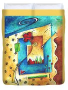 Abstract Pop Art Landscape Floral Original Painting Joyful World By Madart Duvet Cover by Megan Duncanson