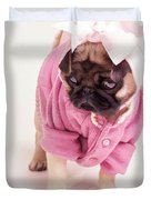 Adorable Pug Puppy in Pink Bow and Sweater Duvet Cover by Edward Fielding