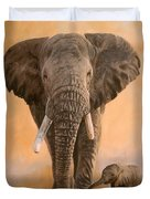 African Elephants Duvet Cover by David Stribbling