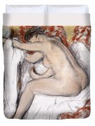 After The Bath Woman Drying Herself Duvet Cover by Edgar Degas