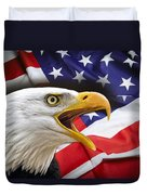 Aggressive Eagle And United States Flag Duvet Cover by Daniel Hagerman