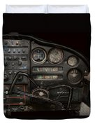 Airplane - Piper Pa-28 Cherokee Warrior - A Warriors View Duvet Cover by Mike Savad