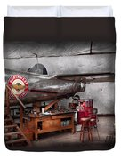 Airplane - The Repair Hanger  Duvet Cover by Mike Savad