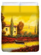 Al Tramonto Sul Fiume Duvet Cover by Guido Borelli