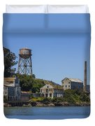 Alcatraz Dock And Water Tower Duvet Cover by John McGraw