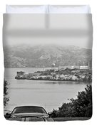 Alcatraz Island From Hyde Street In San Francisco Duvet Cover by RicardMN Photography