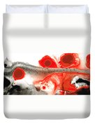 All Things Considered - Red Black And White Art Duvet Cover by Sharon Cummings