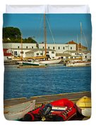 Alls Quiet In The Harbor Duvet Cover by Karol  Livote
