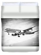 Amercian Airlines 757 Airplane In Black And White Duvet Cover by Paul Velgos