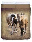 American Quarter Horse Herd Duvet Cover by Betty LaRue