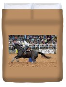 American Rodeo Female Barrel Racer Dark Horse II Duvet Cover by Sally Rockefeller