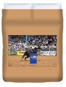 American Rodeo Female Barrel Racer Dark Horse Iv Duvet Cover by Sally Rockefeller