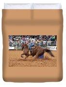 American Rodeo Female Barrel Racer White Blaze Chestnut Horse IIi Duvet Cover by Sally Rockefeller