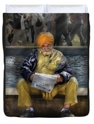 Americana - People - Casually Reading A Newspaper Duvet Cover by Mike Savad