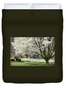 Amish Buggy Fowering Tree Duvet Cover by David Arment