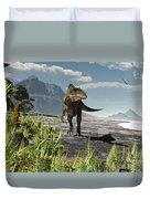 An Acrocanthosaurus Roams An Early Duvet Cover by Arthur Dorety