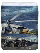 An Mh-60s Sea Hawk Helicopter Picks Duvet Cover by Stocktrek Images