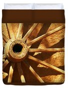 An Old Wagon Wheel In Carillos New Mexico Duvet Cover by Jeff Swan