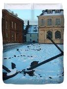 Anchored In Snow Duvet Cover by Derek Knight